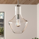 Urn Shaped Pendant Light Fixture Simplicity Translucent Glass Single Apartment Ceiling Lamp in Silver