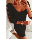 Hot Ladies Long Sleeve Scoop Neck Eyelet Detail Solid Color Mini Fitted T-Shirt Dress