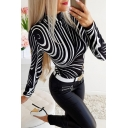 Unique Womens Long Sleeve Mock Neck Abstract Stripe Printed Slim Fitted T-Shirt in Black