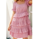 Amazing Ladies Solid Color Short Sleeve Square Neck Pleated Tiered Ruffled Trim Midi A-Line Dress