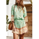 Pretty Ladies Three-Quarter Sleeves V-Neck Tied Front Button Up All Over Floral Pattern Relaxed Fit Boho Romper