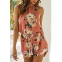Vacation Girls Sleeveless Halter Neck All Over Flower Printed Bow Tie Waist Loose Romper in Pink