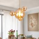 Designer Bubble Amber Glass Drop Pendant Single-Bulb Hanging Ceiling Light in Brass