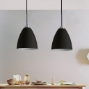 Pointed Ceiling Hanging Light Minimalist Iron Single-Bulb Black/White Drop Pendant over Table