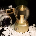 Amber Glass Bulb-Like Night Table Light Vintage LED Nightstand Lamp with Gold/Black Finish Metal Base
