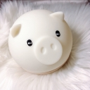 Plastic Cute Pig Shaped Night Lamp Cartoon LED White Nightstand Lamp in Multi Color/Warm Light