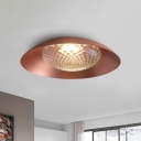 Metal Salad Bowl Flush Mount Light Mid Century 1-Light Copper Ceiling Lighting with Clear Lattice Glass Shade
