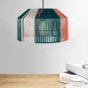 Modern Style Drum Rattan Hanging Lamp 1 Bulb Ceiling Pendant in Pink and Green for Dining Room
