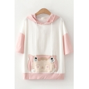 Preppy Girls Three-Quarter Sleeve Hooded Drawstring Cat Embroidered Color Block Relaxed Fit T Shirt