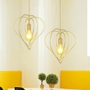 Loving Heart Frame Pendulum Light Nordic Metal 1-Bulb Gold Finish Hanging Ceiling Lamp