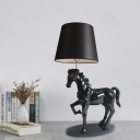 Tapered Shade Fabric Table Lamp Vintage 1 Head Bedroom Nightstand Light with Steed Pedestal in Black