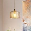Drum Dining Room Pendant Light Retro Cognac Hammered Glass 1 Bulb Brass Hanging Lamp Kit