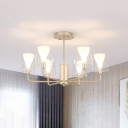 6 Bulbs Bedroom Pendant Chandelier Modernism Gold Radial Hanging Light with Barrel Clear Glass Shade