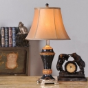 1 Head Night Stand Lamp Fabric Traditional Living Room Table Light with Flared Shade in Khaki