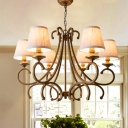 Brass Conical Ceiling Chandelier Farmhouse Beige Fabric 3/6 Heads Dining Room Pendant with Twisted Arm