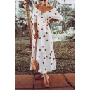 Gorgeous Amazing Womens Three-Quarter Sleeve Off the Shoulder Polka Dot Print Bow Tie Waist Long Wrap Dress in White
