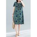 Retro Fashion Girls Short Sleeve Round Neck Polka Dot Print Linen and Cotton Mid Swing Dress