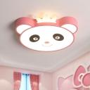 Cartoon Panda Head Flush Lamp Fixture Acrylic Kids Bedroom LED Flush Mount in Blue/Pink
