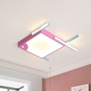 Pink Square Fish Ceiling Light Cartoon Aluminum LED Flush Mounted Lighting in Warm/White Light