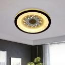 Black Round Flush Light Fixture Modernist LED Acrylic Flushmount Lamp with Dandelion Pattern