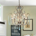 Antique Vase Shape Chandelier 6 Bulbs Crystal Beaded Hanging Ceiling Light with Candle Design in Rust-Blue