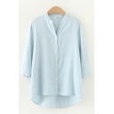 Leisure Solid Color Three-Quarter Sleeve V-neck Button up High Low Hem Loose Fit Shirt Top for Ladies