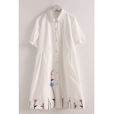 Lovely Linen and Cotton Floral Embroidered Short Sleeve Turn down Collar Button down Midi A-Line Shirt Dress in White