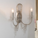 Nickel 2-Head Wall Lighting Fixture Contemporary Crystal Candlestick Wall Sconce Light
