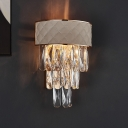 Prismatic Crystal Tiers Wall Lighting Modern 2 Lights Living Room Sconce Light with Trellis Leather Decor in Grey