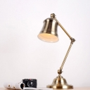 Bell Metal Reading Light Antiqued 1 Bulb Study Room Table Lamp in Gold with Swing Arm