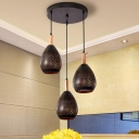 Industrial-Style Pear Multi Light Pendant 3 Lights Metallic Suspension Lamp in Black with Hollow Out Design