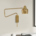 Iron Black/Gold Extendable Wall Lamp Bowl Shade 1 Head Mid Century Wall Mount Light for Bedroom