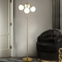 Post Modern 4-Bulb Standing Light Gold Finish Orb Floor Lamp with White Glass Shade