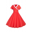 Vintage Girls Short Sleeve Surplice Neck Contrasted Bow Tied Mid Pleated Flared Prom Dress