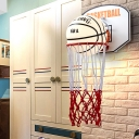 Red Basket Frame Shape Wall Mounted Lighting Cartoon 1 Head Rope Wall Lamp Sconce with Basketball Cream Glass Shade