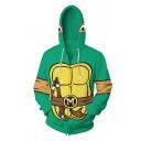 Creative Guys Green Long Sleeve Drawstring Zipper Front Cartoon Turtle 3D Cosplay Print Loose Hoodie