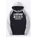 Cool Mens Raglan Long Sleeves Drawstring Letter I LOVE YOU 3000 Pouch Pocket Colorblock Relaxed Fit Hoodie