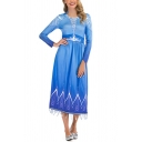 Amazing Girls Blue Long Sleeve Crew Neck Ice Pattern Fringe Trim Long Pleated A-Line Dress