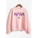 Popular Girls Long Sleeve Crew Neck Letter NASA Print Loose Fit Pullover Sweatshirt