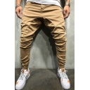 Hip Hop Boys Solid Color Mid Rise Dropped Insteam Cuffed Ankle Tapered Fit Trousers