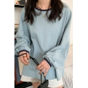 Casual Womens Blouson Sleeve Round Neck Solid Color Contrast Piped Relaxed Fit T-Shirt