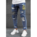 Fashion Blue Mid Rise Distressed Letter Print Embroidery Ankle Length Slim Fitted Jeans for Guys