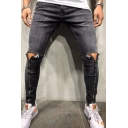Cool Mens Mid Rise Ripped Zipper Embellished Bleach Plain Long Skinny Jeans in Black