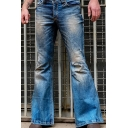 Chic Mens High Rise Bleach Long Length Flared Leg Jeans in Blue (Pictures for Reference)