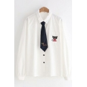 Simple Womens White Long Sleeve Lapel Collar Button Up Cat Embroidered Chest Pocket Loose Fit Shirt with Tie