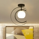 Globe White Glass Semi Flushmount Modern 1-Light Black Flush Ceiling Lamp with Moon Iron Frame