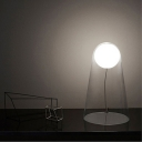 Conical Night Table Light Minimalist Clear Glass LED Bedside Desk Lamp with Orb Shade Inside