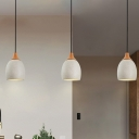Cement Domed Suspension Light Modern Nordic 1 Bulb Hanging Pendant in Light Grey and Wood