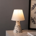 Wide Flared Bedroom Table Light Marble 1-Light Modernism Night Lamp with Fabric Shade