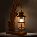 1 Light Table Lamp Warehouse Bedroom Wood Desk Lighting with Cylinder Clear Glass Shade in Black
